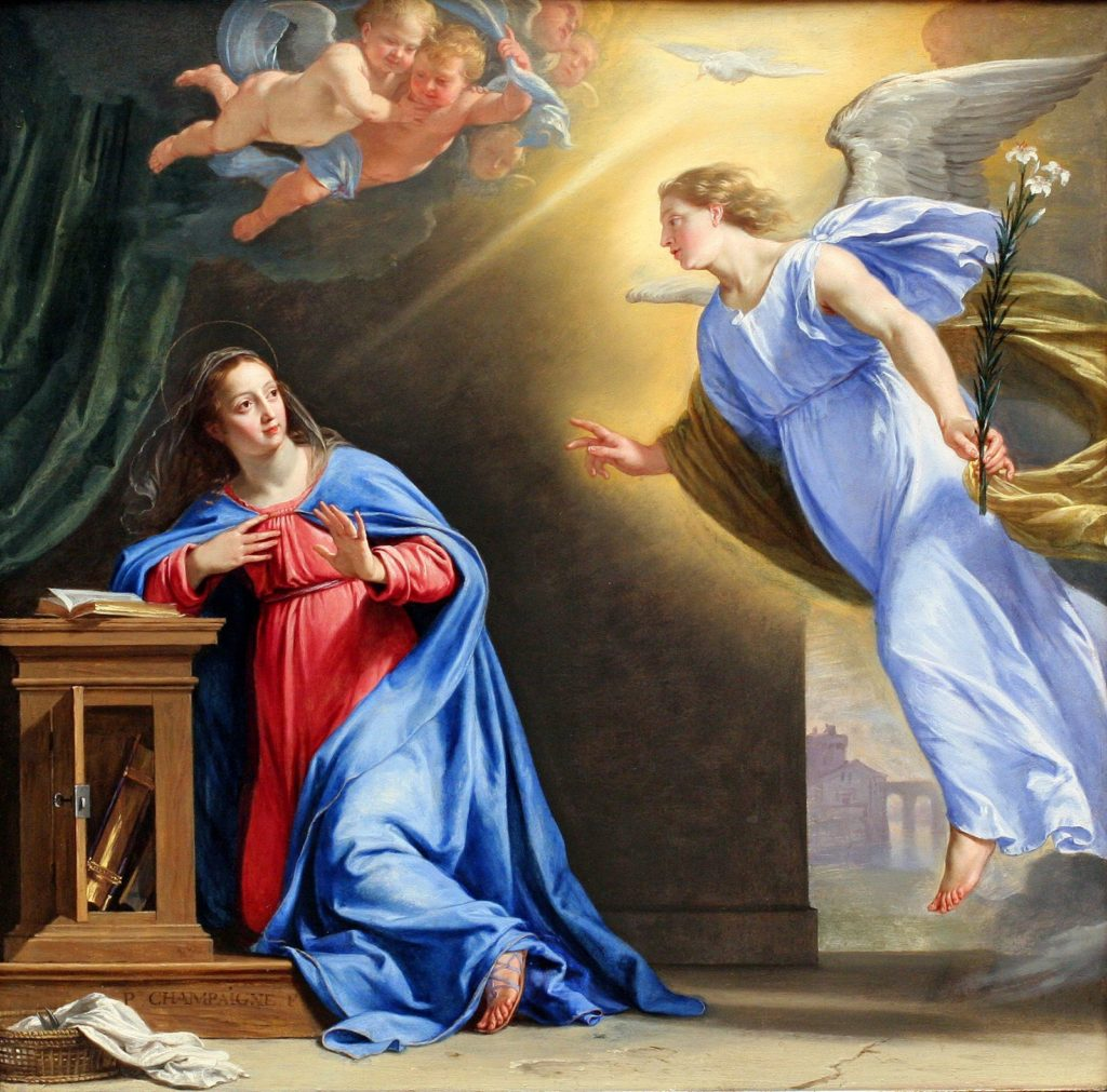 The Virgin Mary accepts the blessings Archangel Gabriel reveals to her.